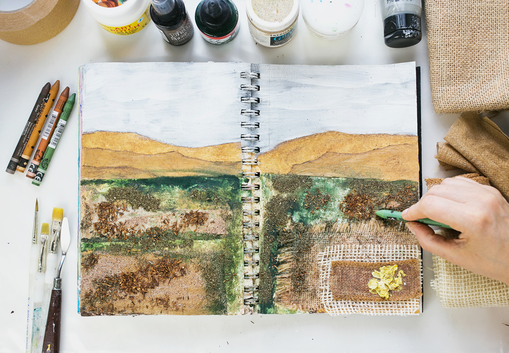 Art Journal 3 - Natural Mixed Media Painting - finishing touches