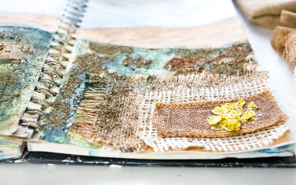 Art Journal 3 - Natural Mixed Media Painting - detail, right side