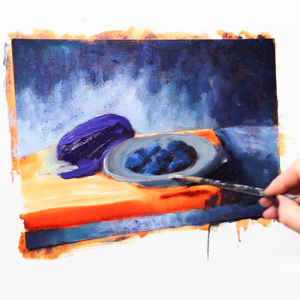 Oil Painting: Eggplant and Plums - second layer - blocking in