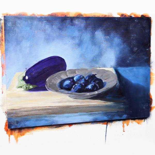 Oil Painting: Eggplant and Plums - shadows