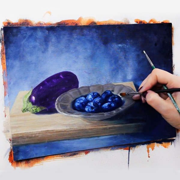 Oil Painting: Eggplant and Plums - midtones