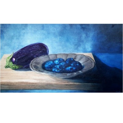 Oil Painting: Eggplant and Plums
