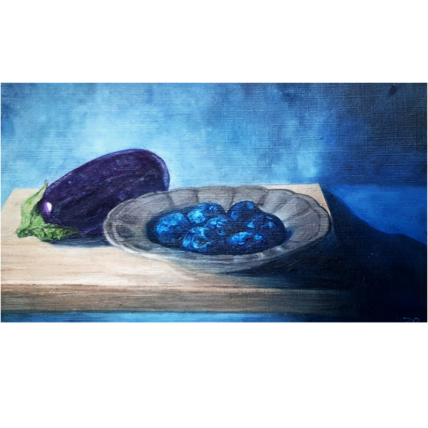Oil Painting: Eggplant and Plums - finished